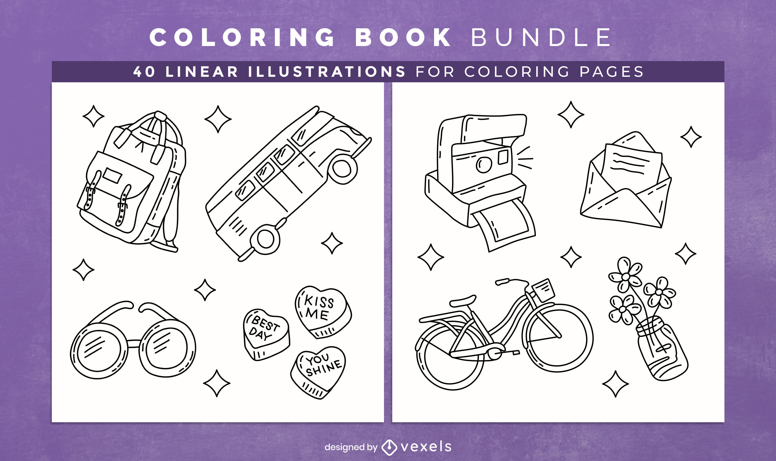 Cool objects coloring book interior design