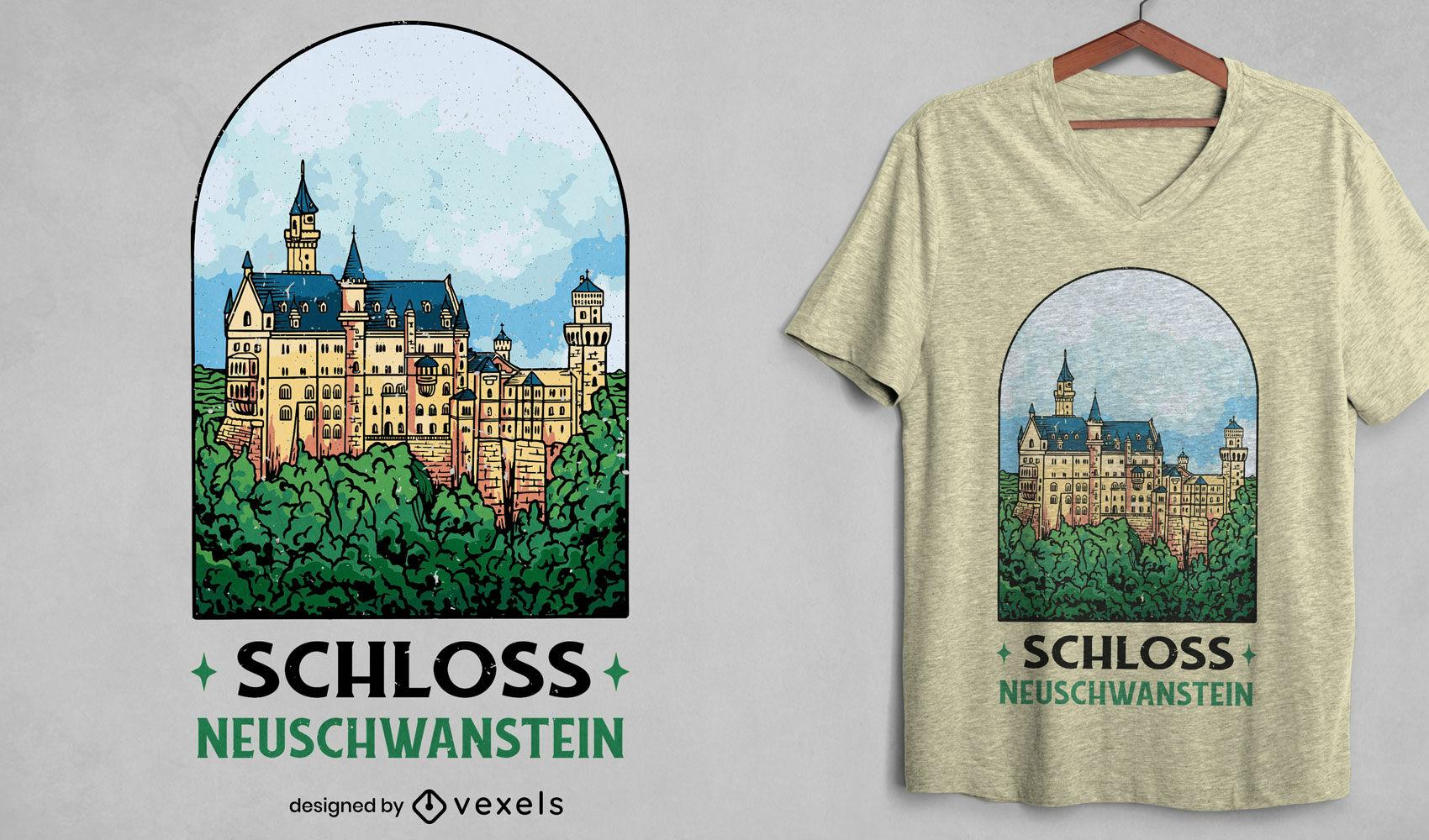 Diseño de camiseta de retrato de castillo alemán