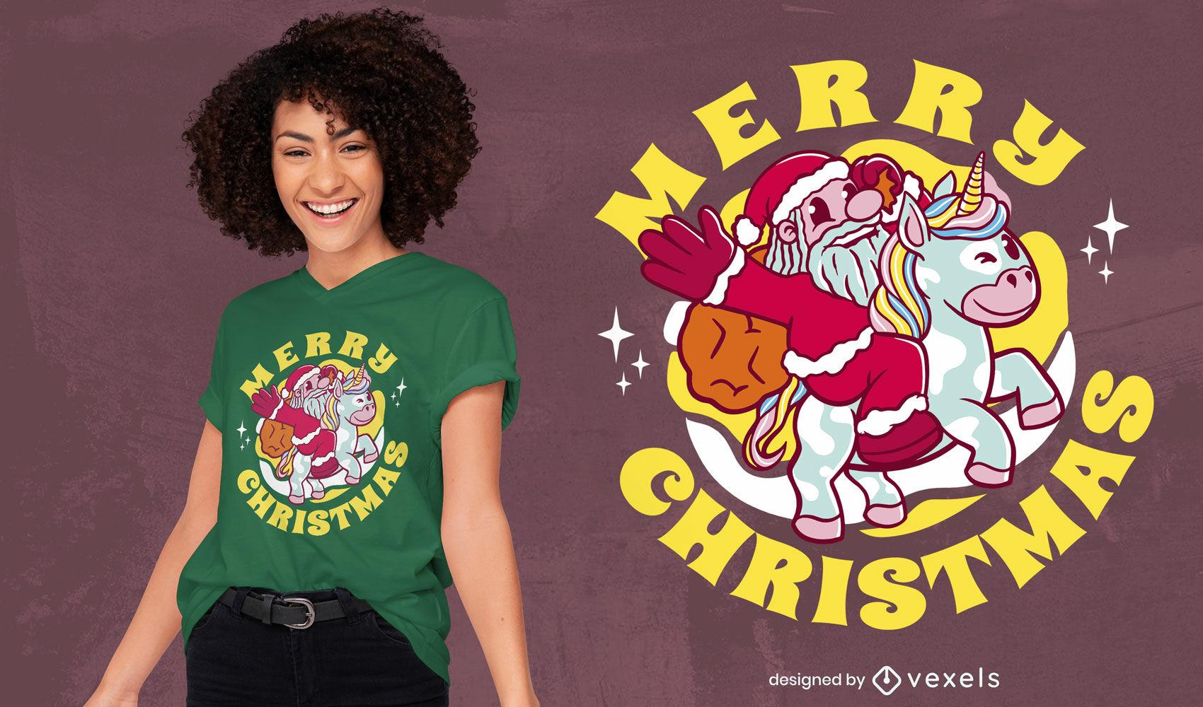 Santa claus riding unicorn t-shirt design