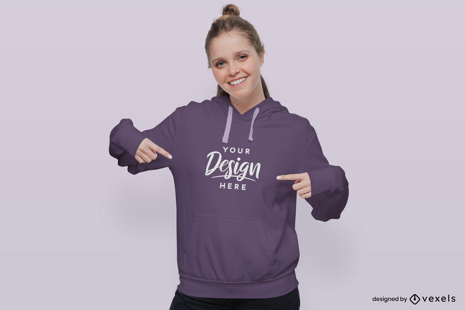 Blond woman in solid background hoodie mockup