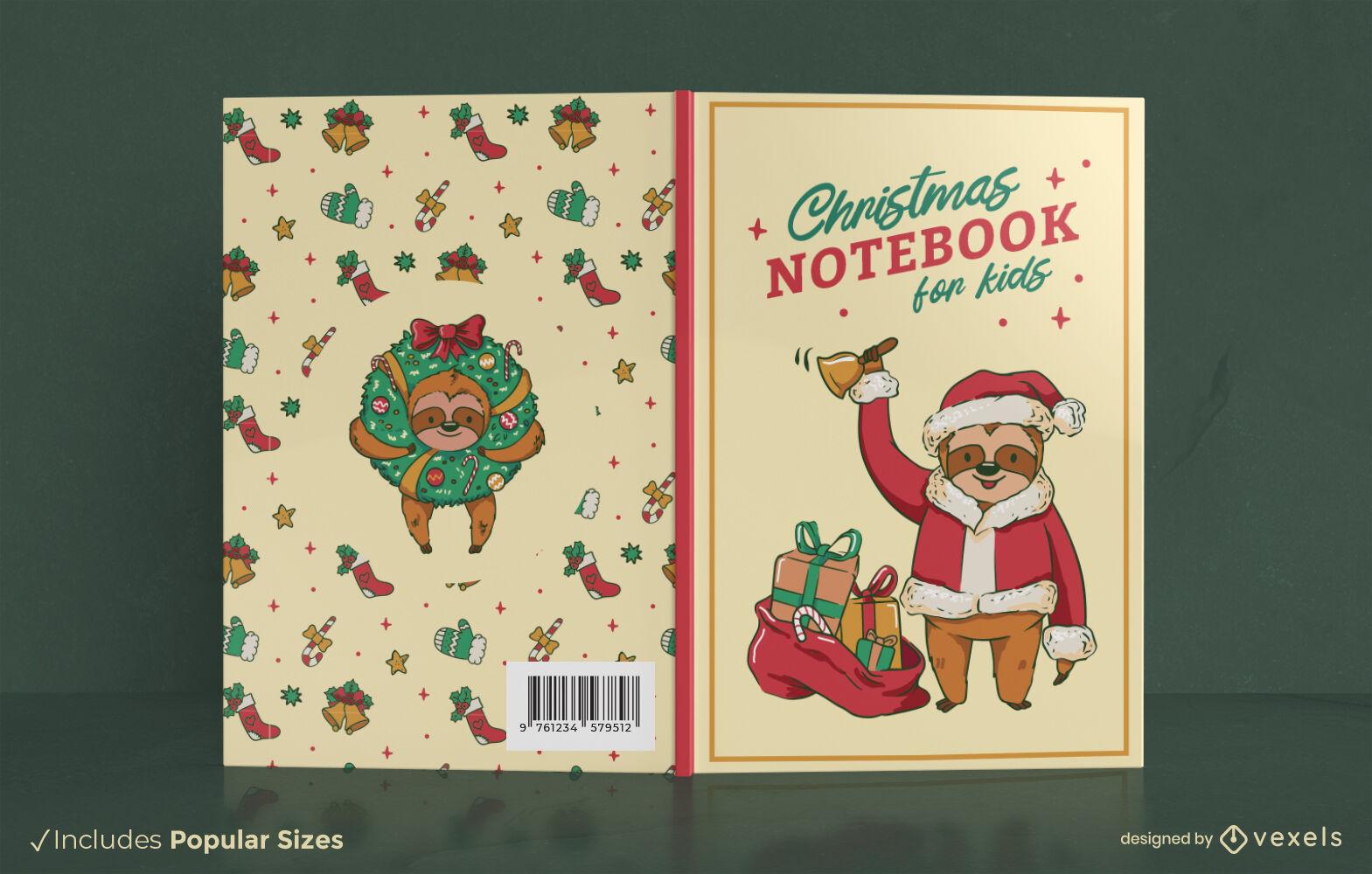 Lindo design de capa de livro de preguiça de Natal