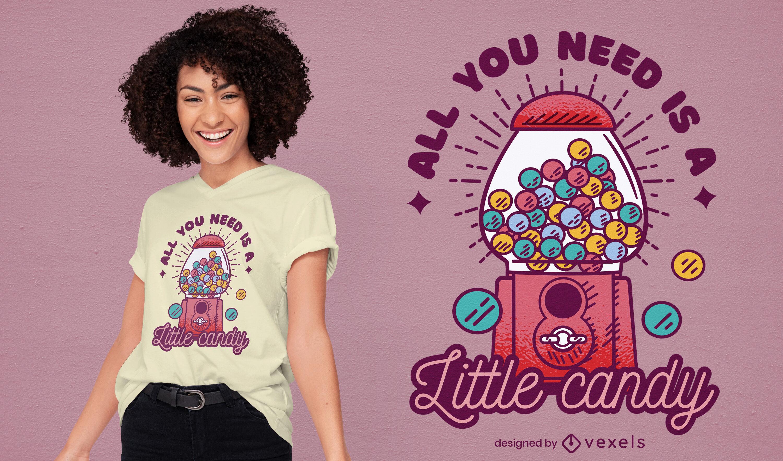 Dise?o de camiseta de m?quina de dulces dulces.