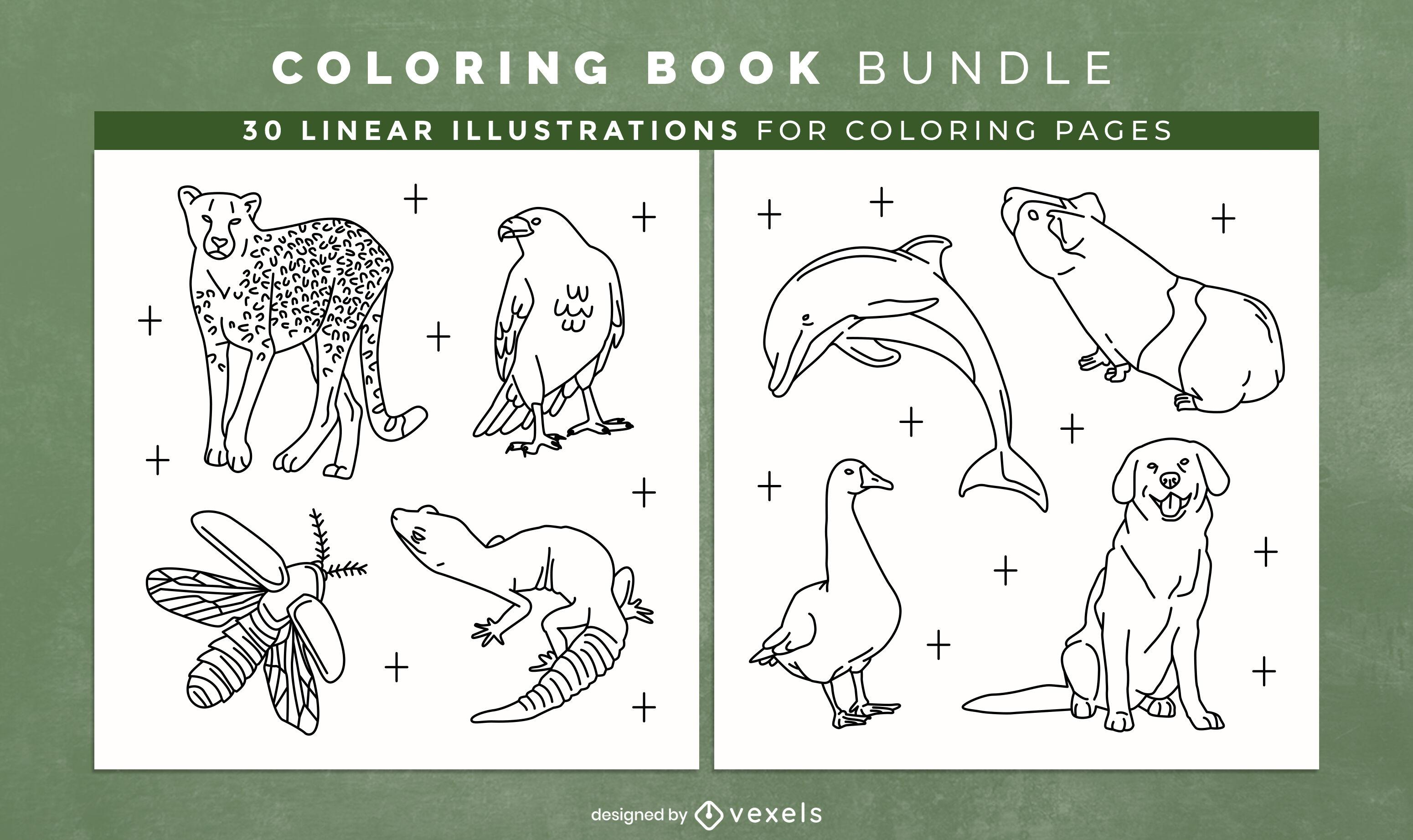 Dise?o de interiores de libro de colorear de animales impresionantes
