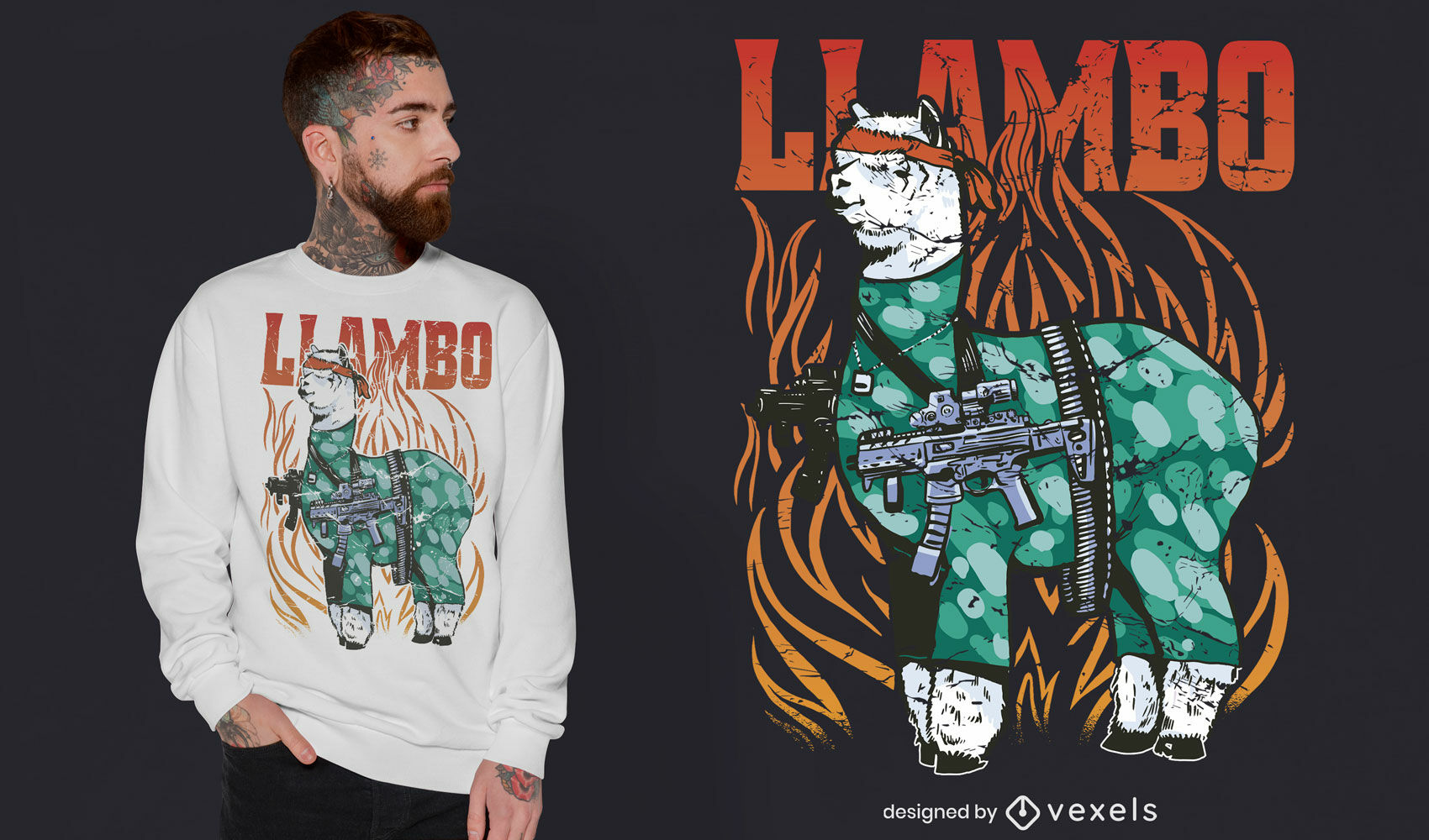 Dise?o de camiseta cool war llama