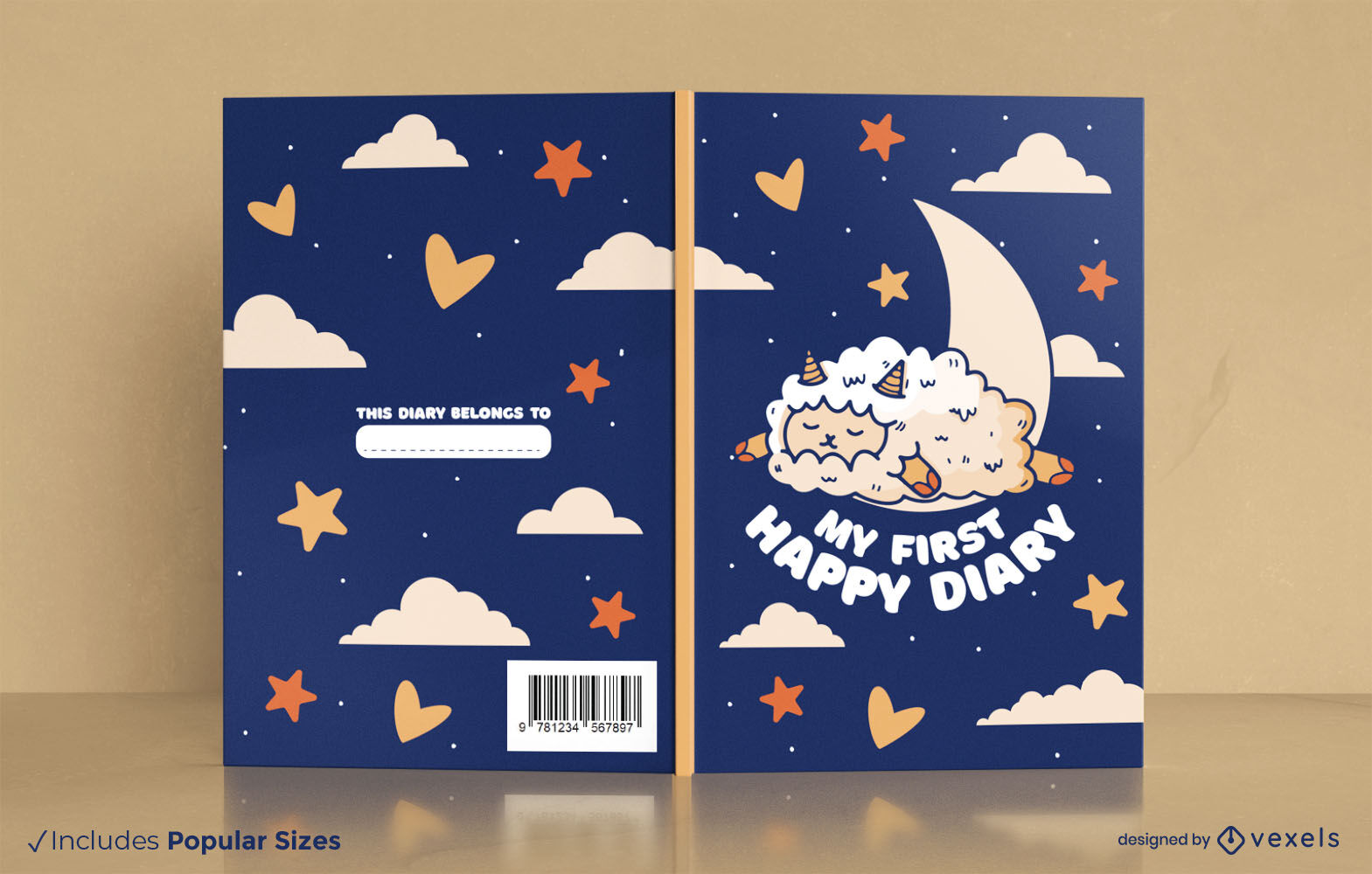Cute sleepy sheep diary book cover design