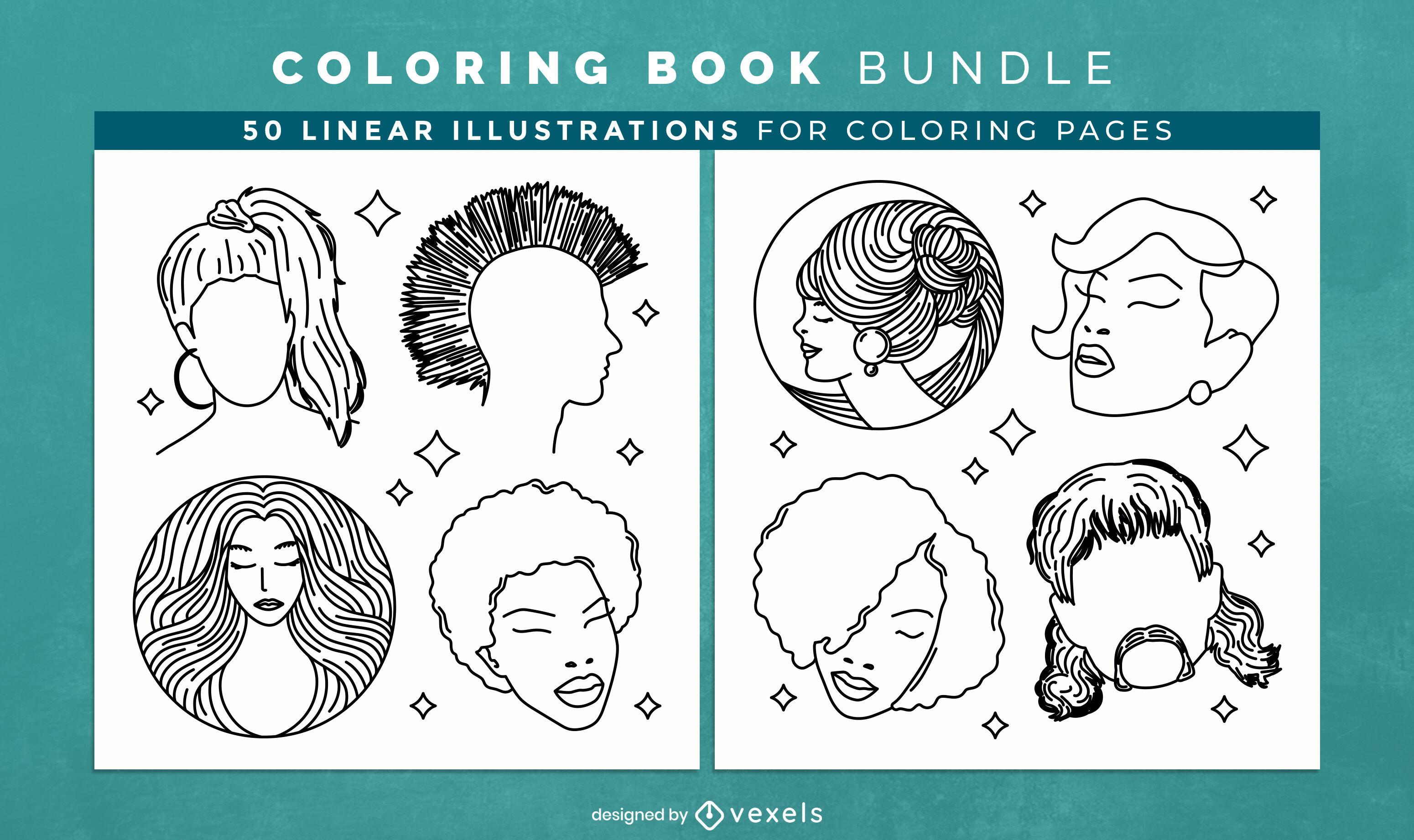 Hairstyles coloring book interior design