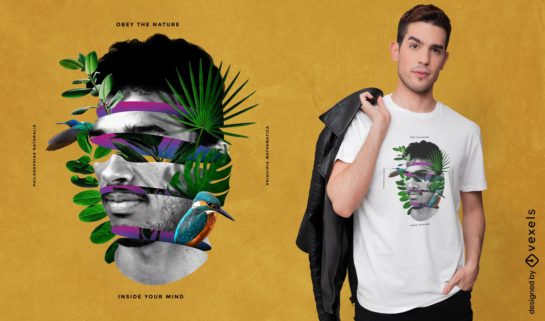 Camiseta con collage de cara de hombre de la naturaleza psd