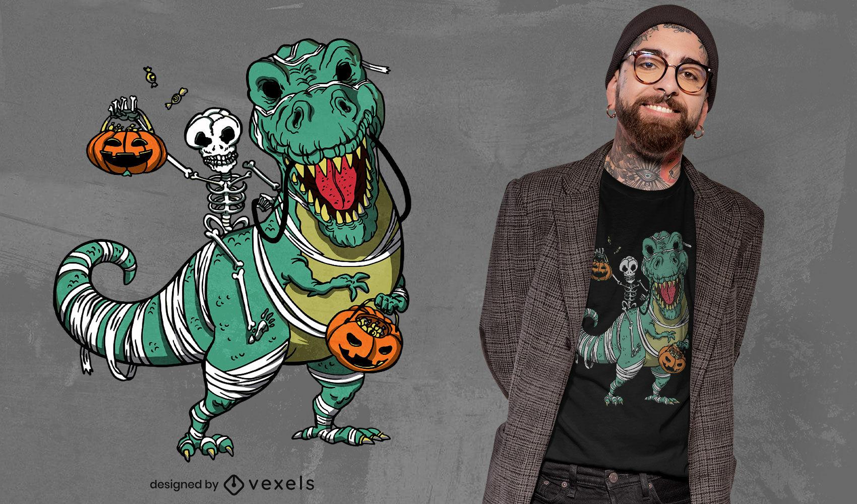 Dise?o de camiseta de esqueleto y t-rex de Halloween.