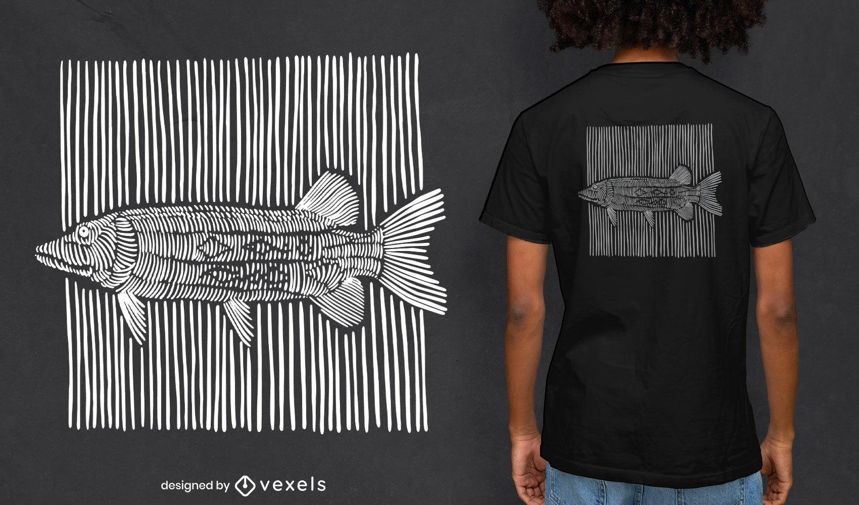 Diseño de camiseta de líneas de tiza de pescado.