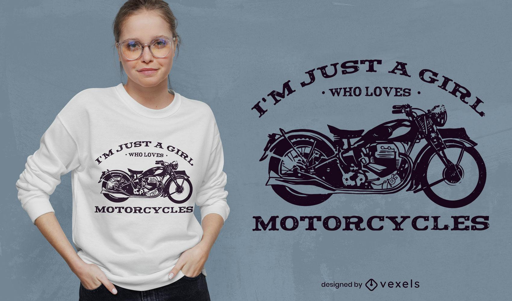 Diseño de camiseta de cita de chica motociclista