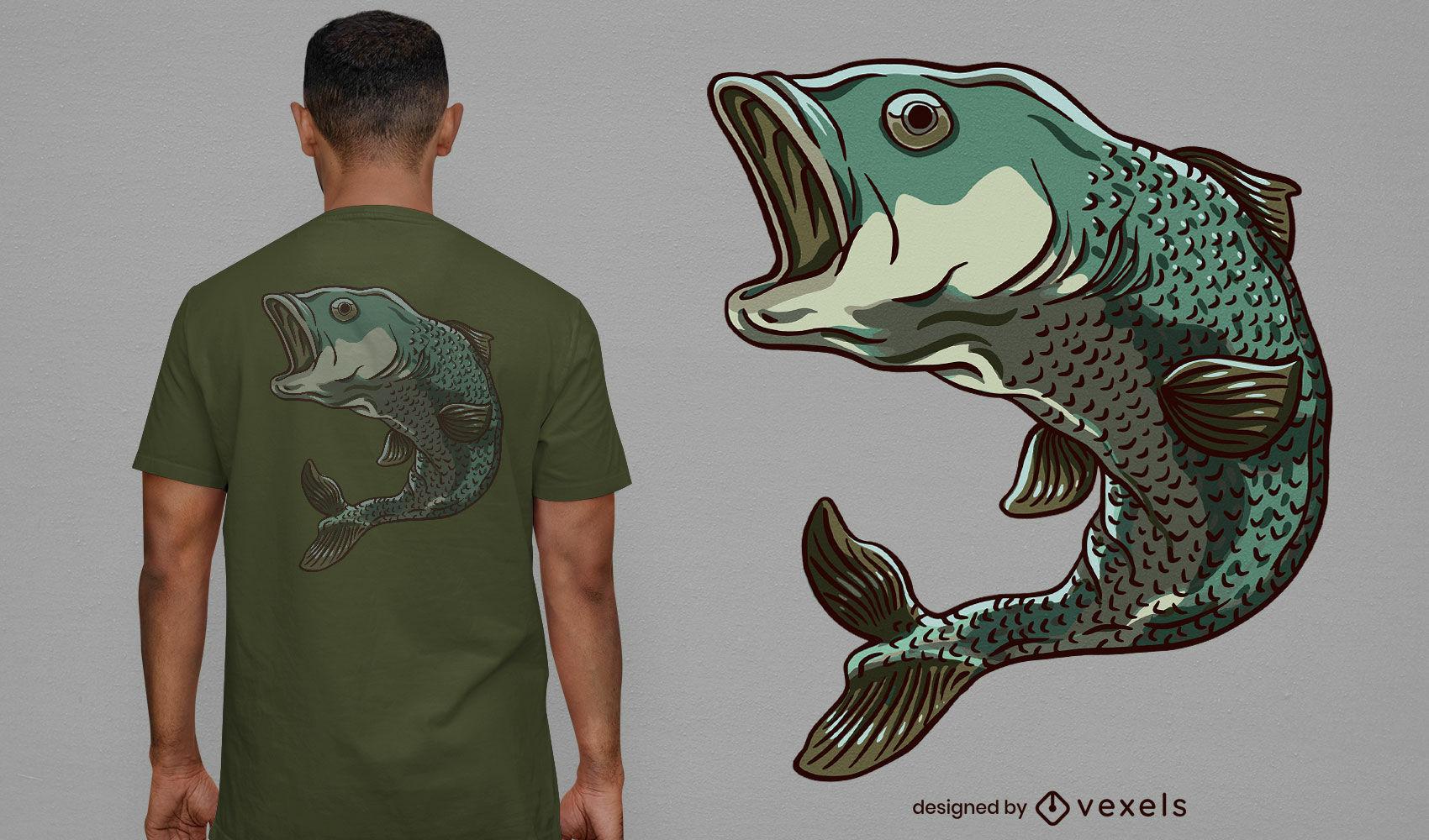 Dise?o de camiseta de pez lucioperca