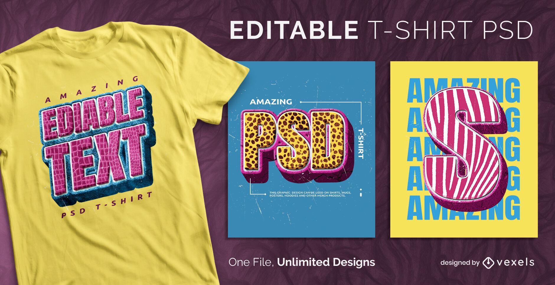 Textured texts scalable t-shirt psd