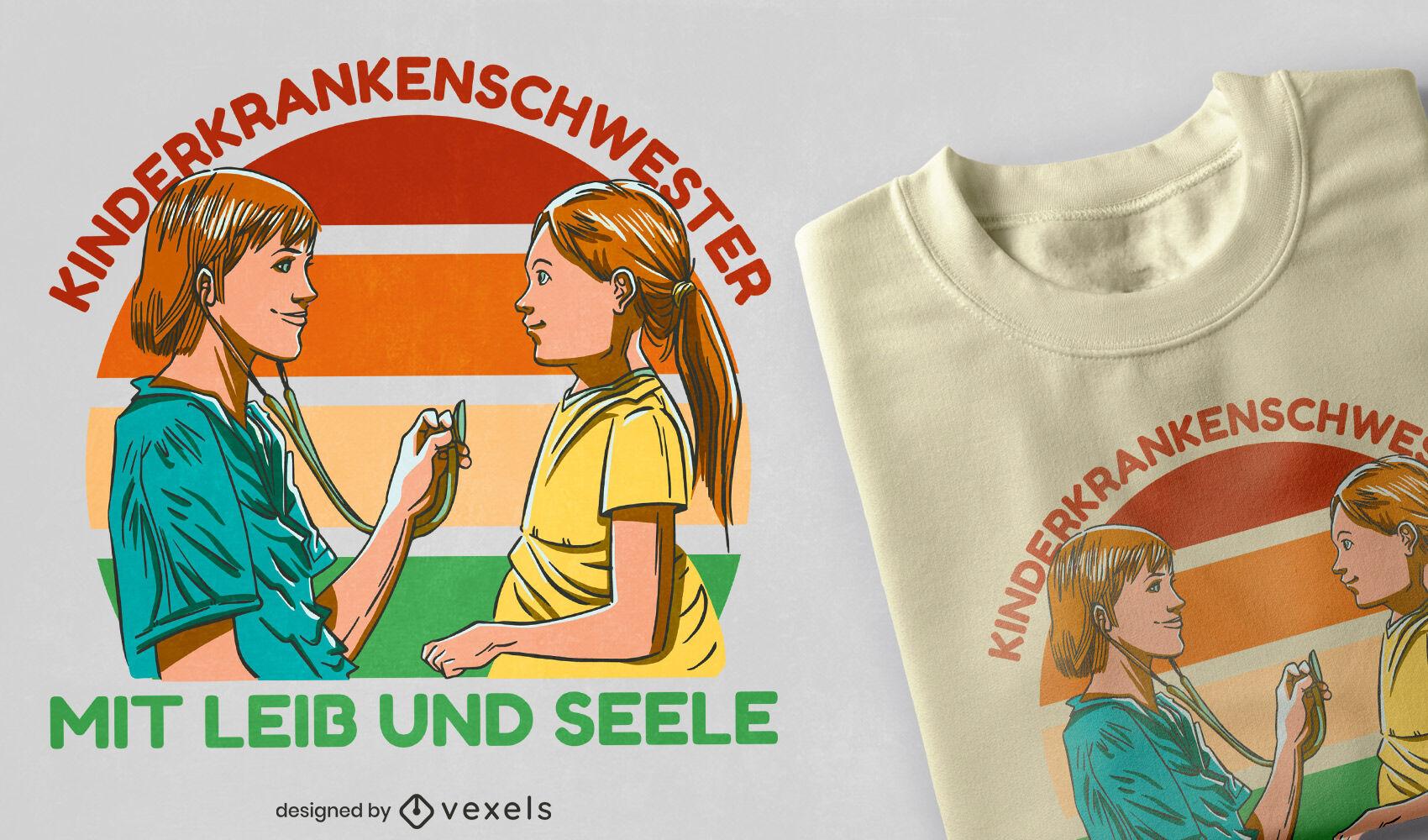 Diseño de camiseta de enfermera pediátrica.