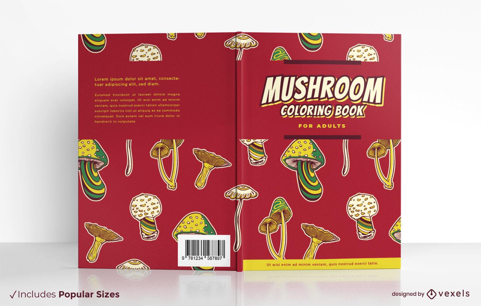 Cool mushroom coloring book cover design