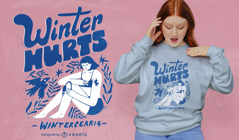 Dise?o de camiseta de tristeza de invierno.
