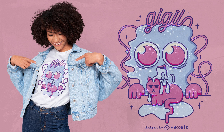 Diseño de camiseta de gato lindo Gigil