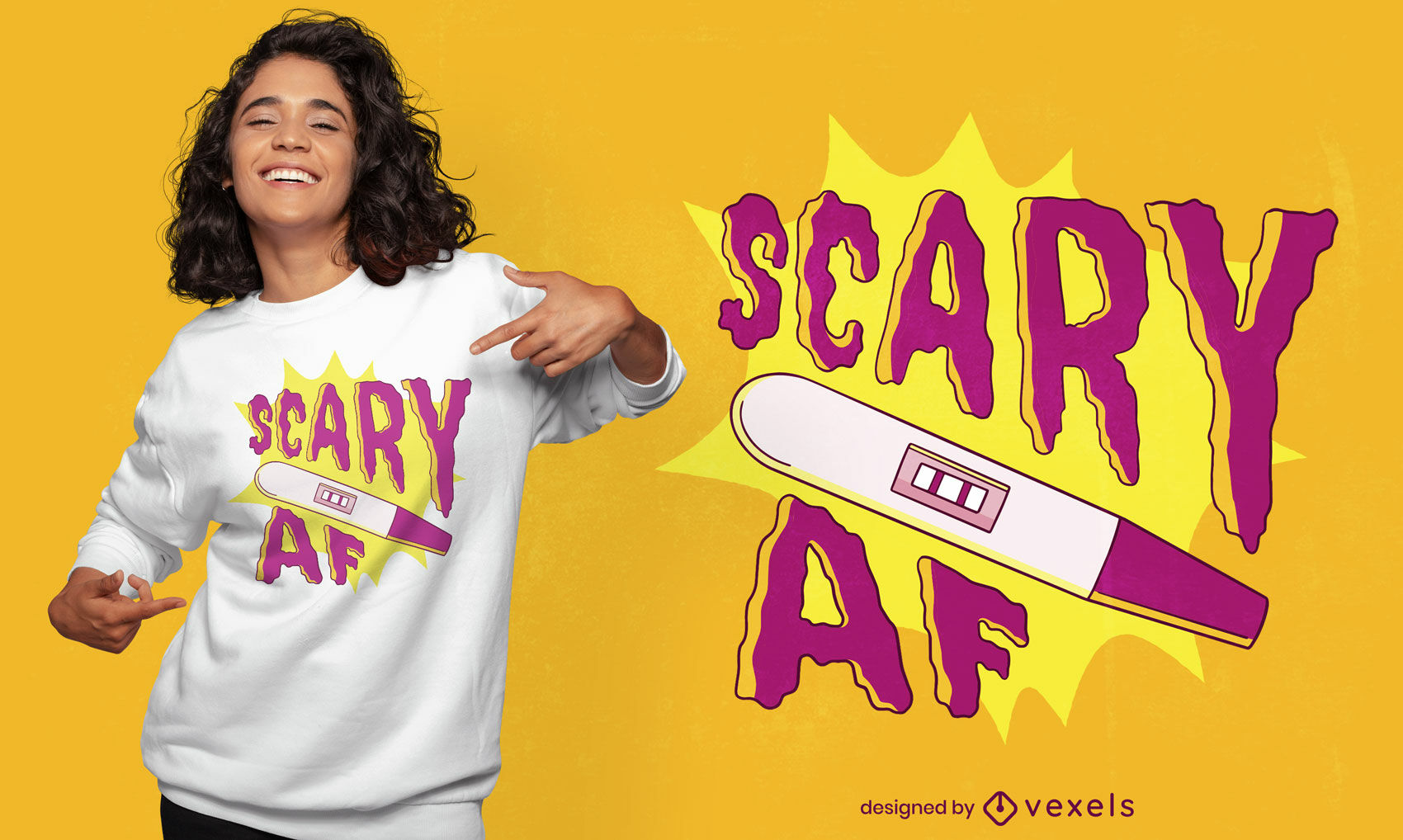 Scary AF pregnancy test t-shirt design