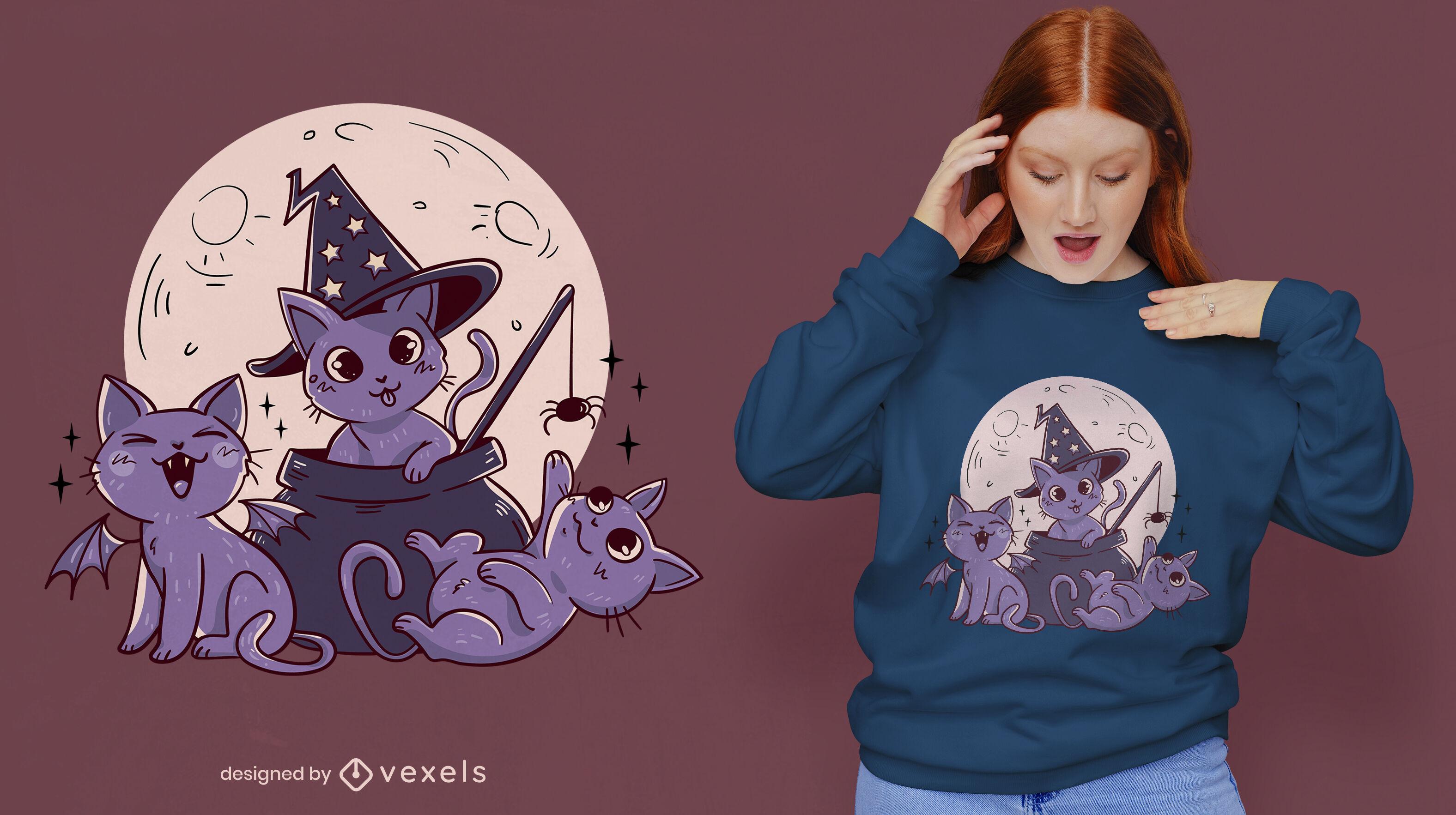 Gatos fofos do Dia das Bruxas e design de camisetas de lua