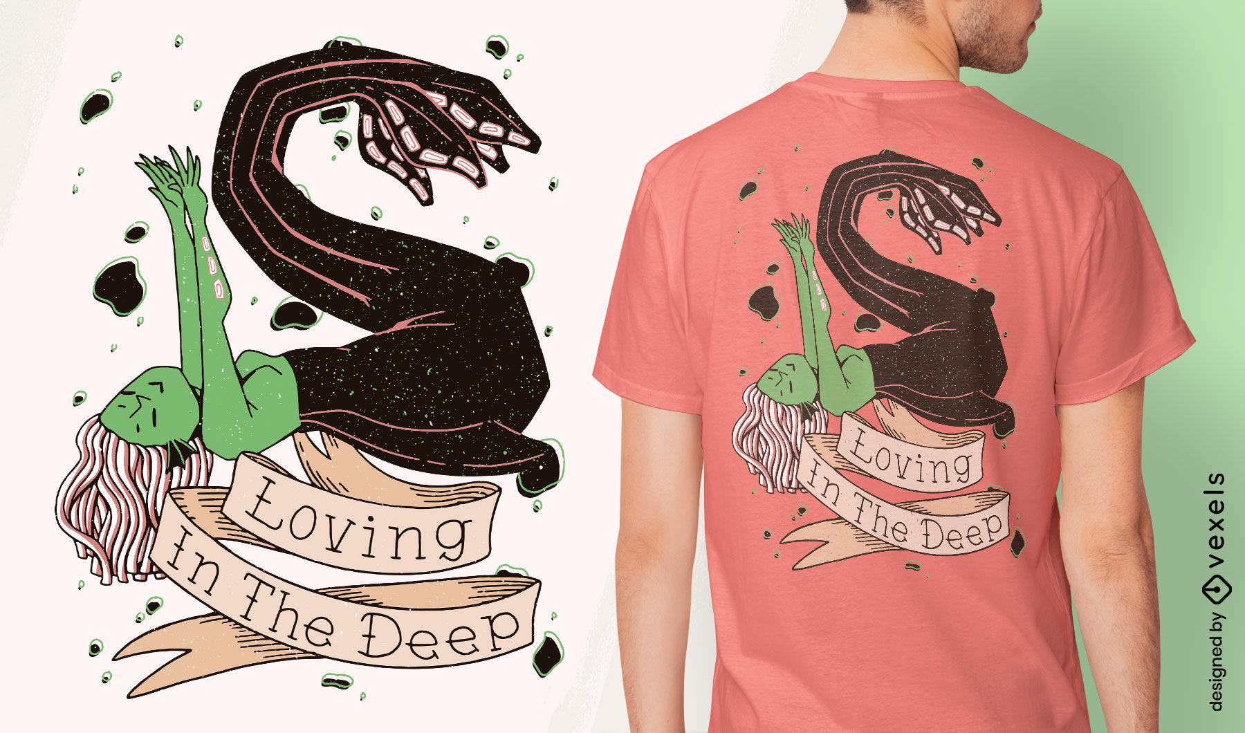 Dise?o de camiseta de criatura marina espeluznante sirena