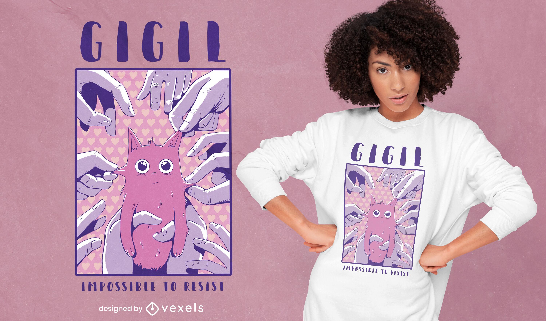 Hermoso diseño de camiseta de gato y manos psd