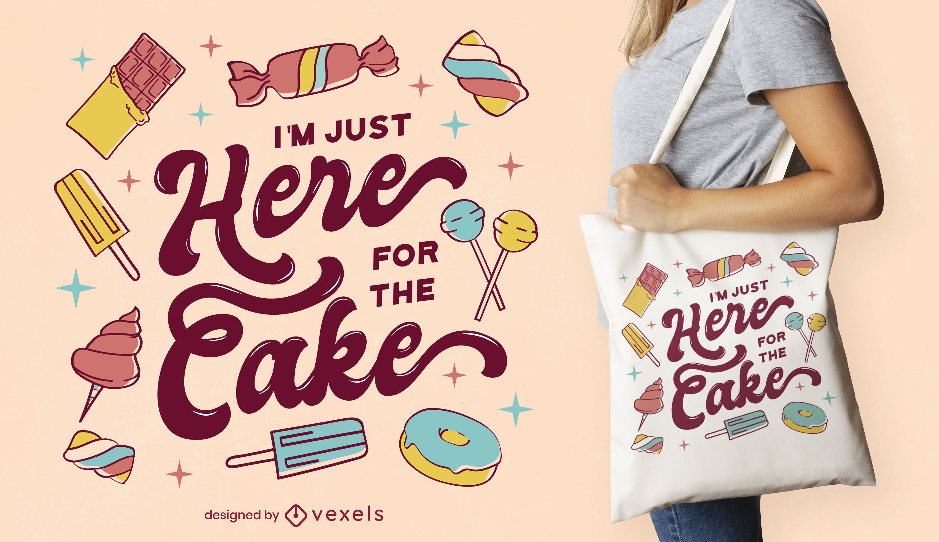 Diseño de bolso de mano con letras de cita de pastel