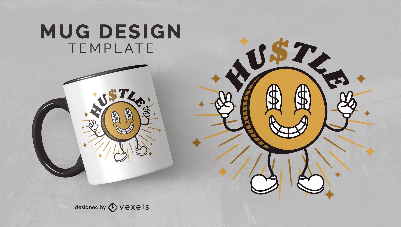 Diseño de taza de moneda de dinero Hustle