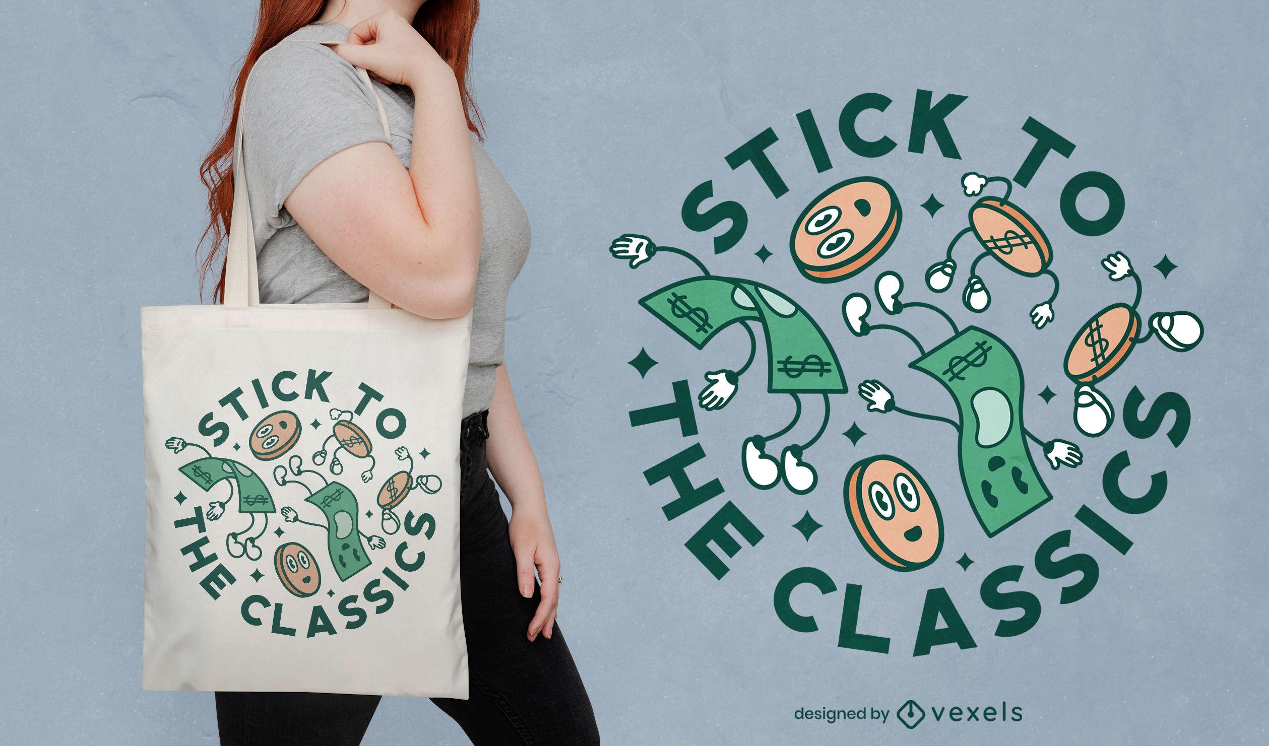 Diseño de bolso de mano con presupuesto de dinero