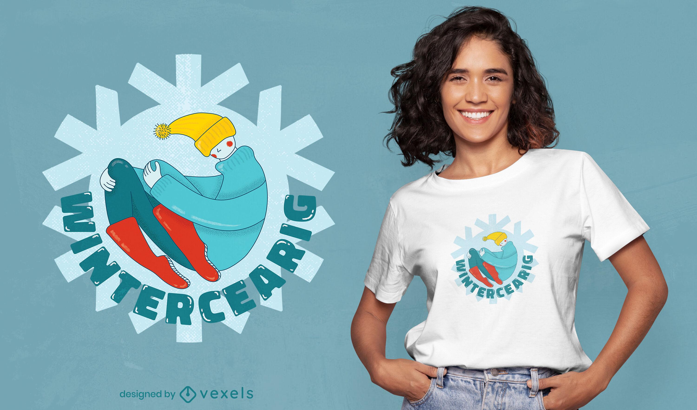 Hombre de dibujos animados en ropa de invierno camiseta psd
