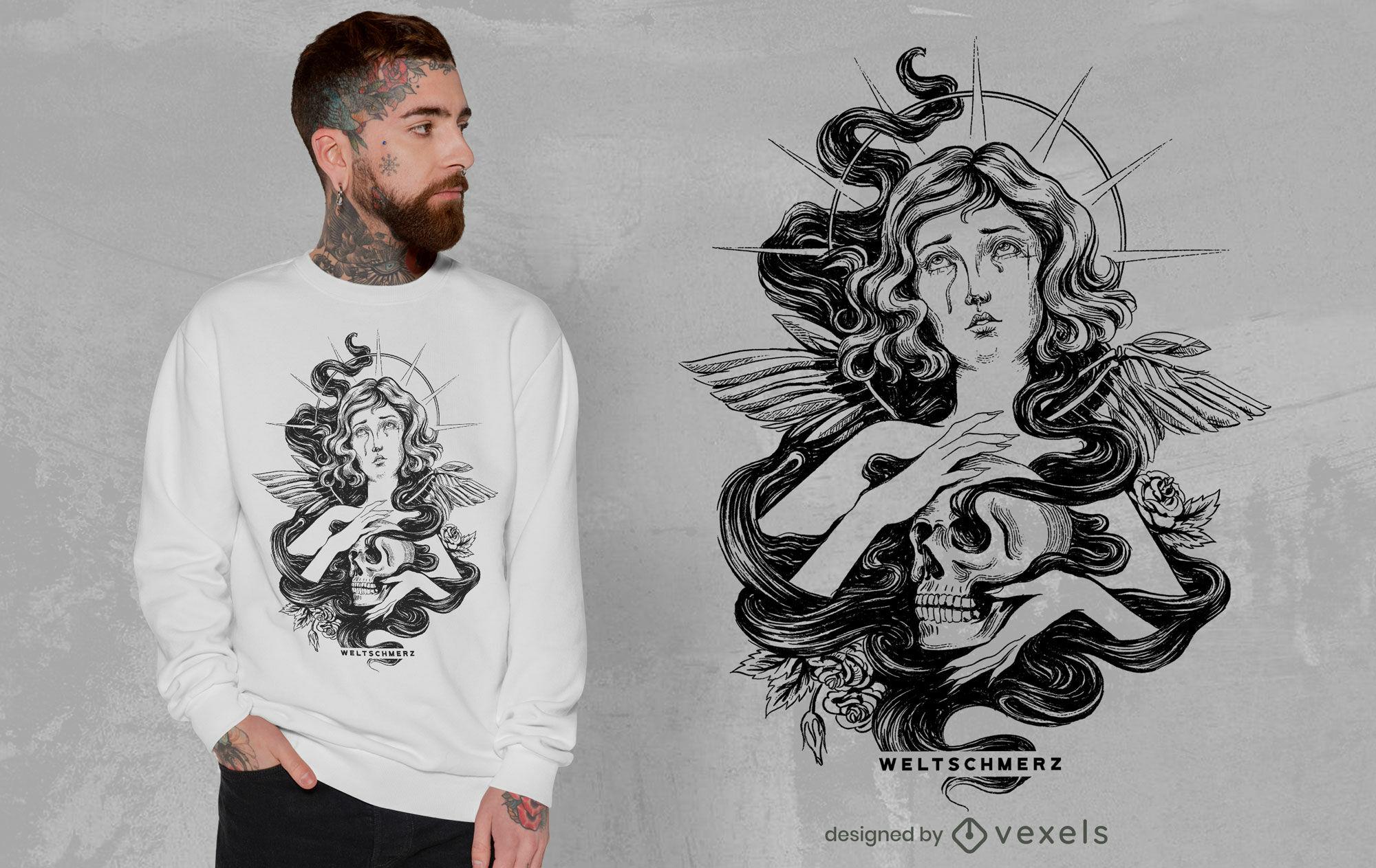 Female angel with skull hand drawn t-shirt psd