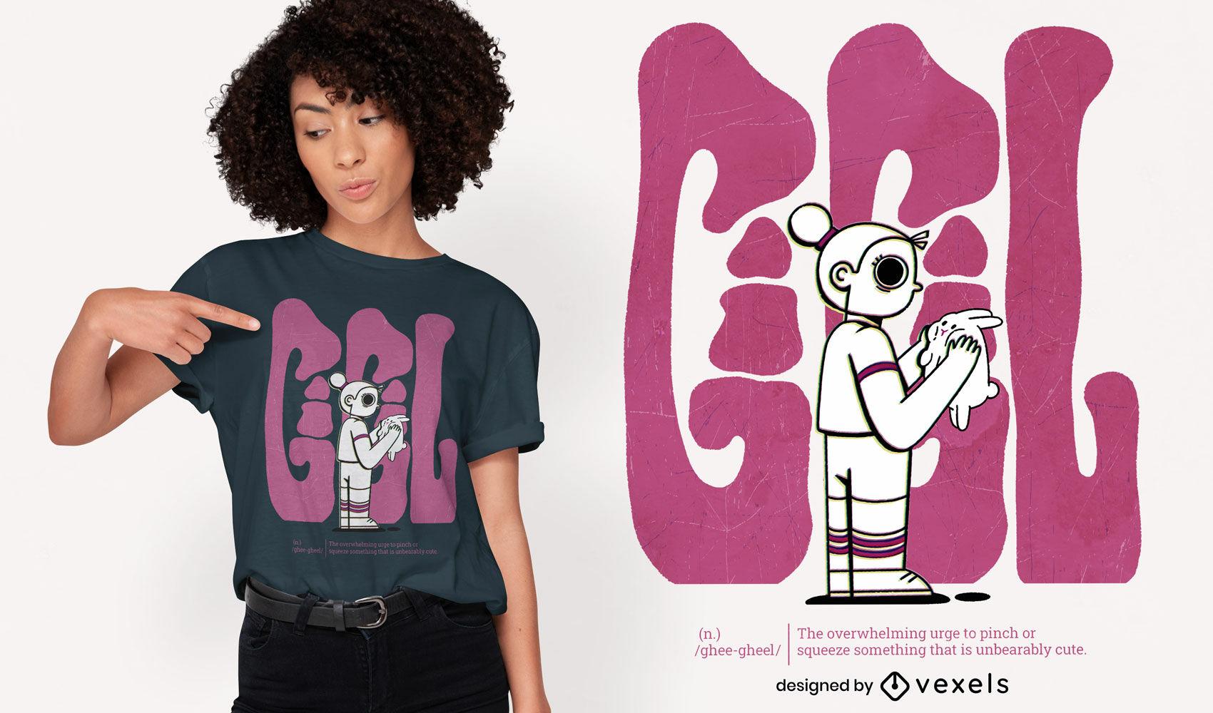 Happy child with bunny cartoon t-shirt psd