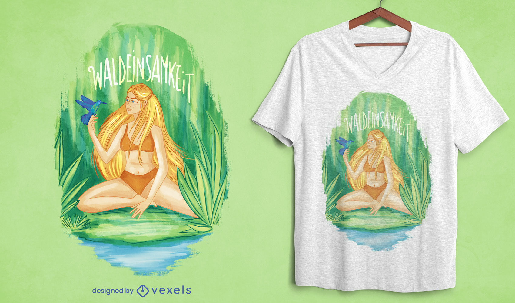 Blond woman in the forest t-shirt psd
