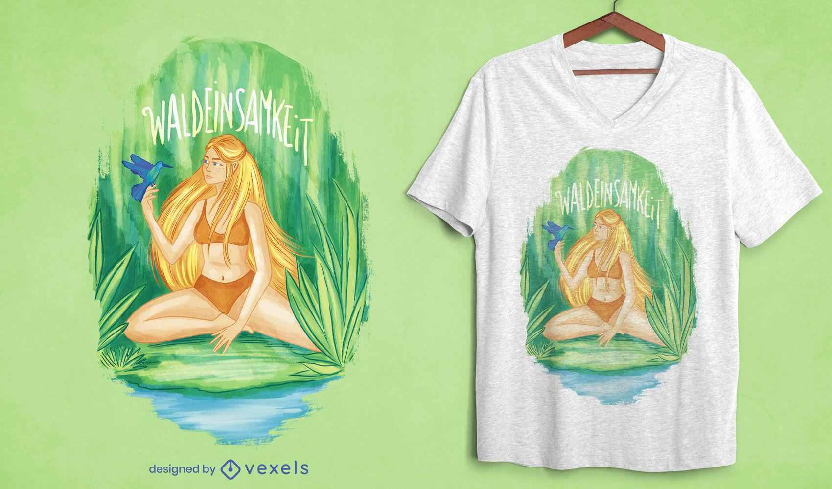 Camiseta mujer rubia en el bosque psd