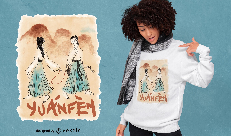 Camiseta china con retrato de amor en acuarela psd