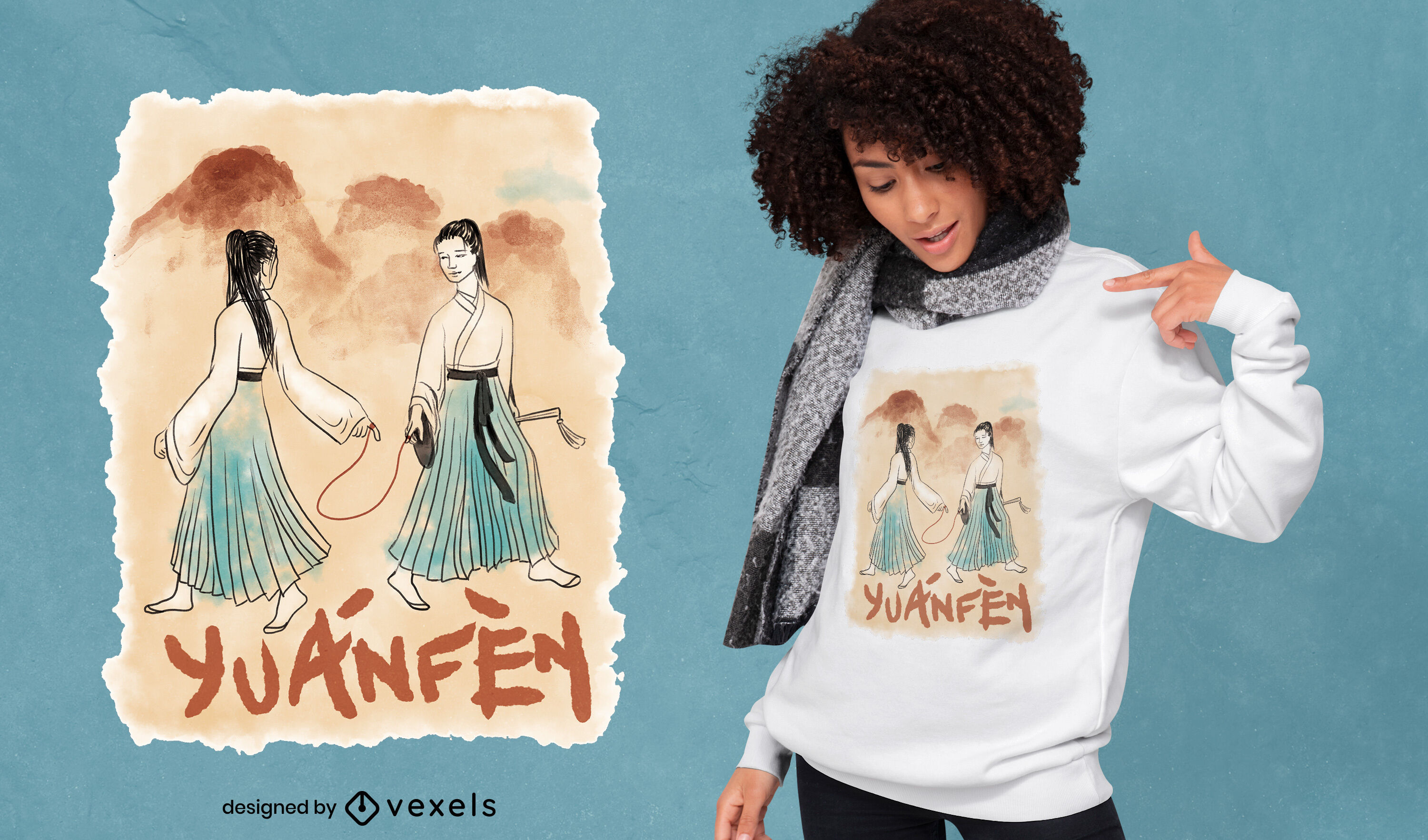 Chinese watercolor love portrait t-shirt psd
