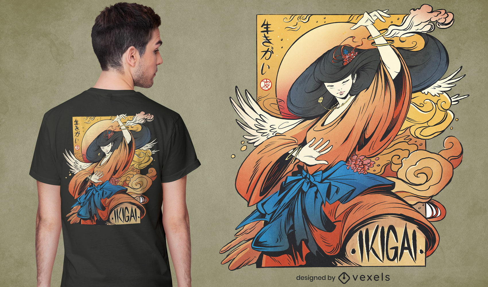Japanese spiritual girl t-shirt psd