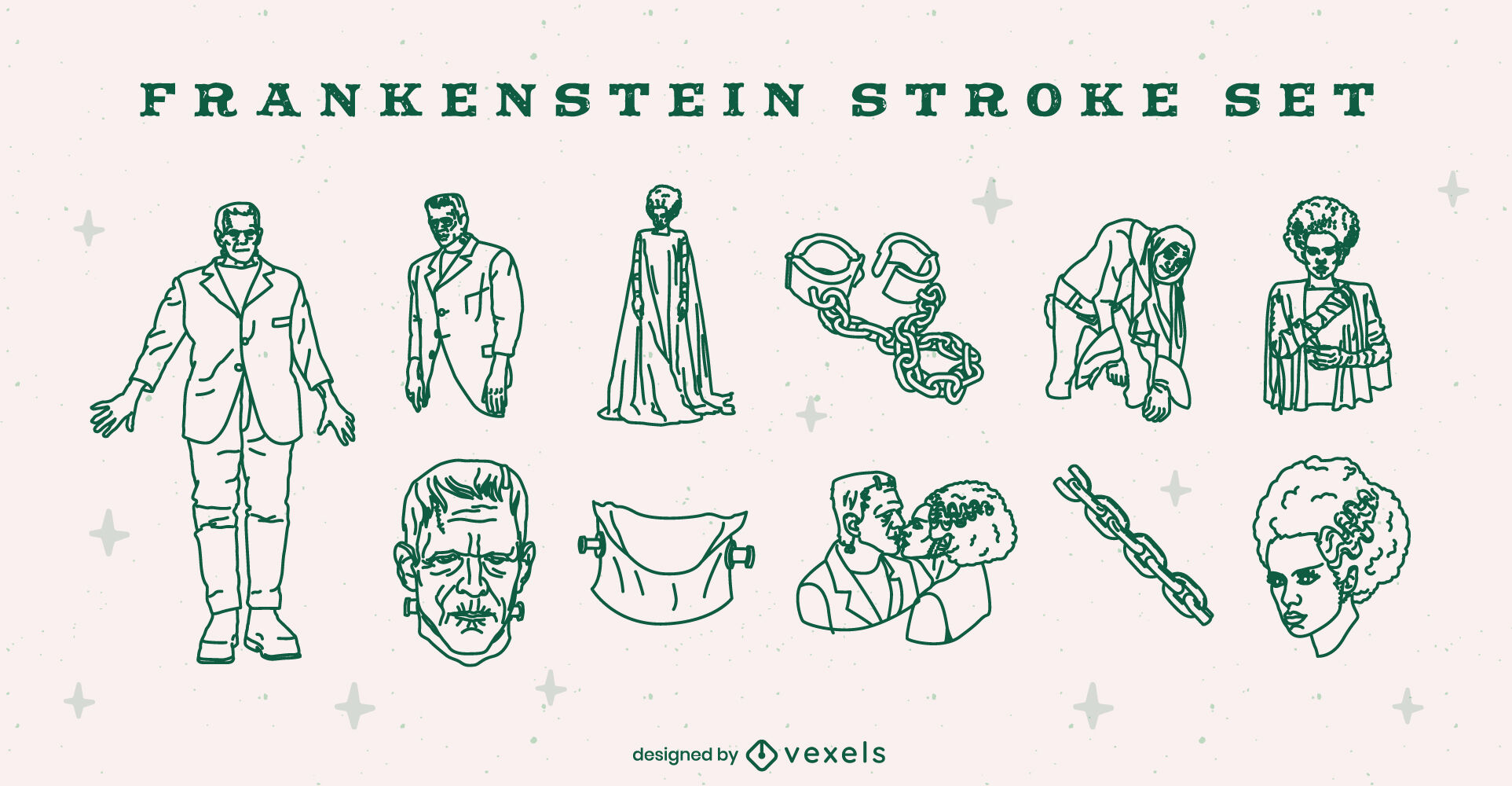 Frankenstein Halloween illustrations set stroke