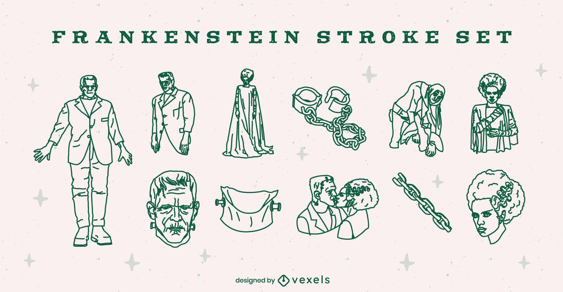 Ilustra?es de Frankenstein para o Halloween com tra?os