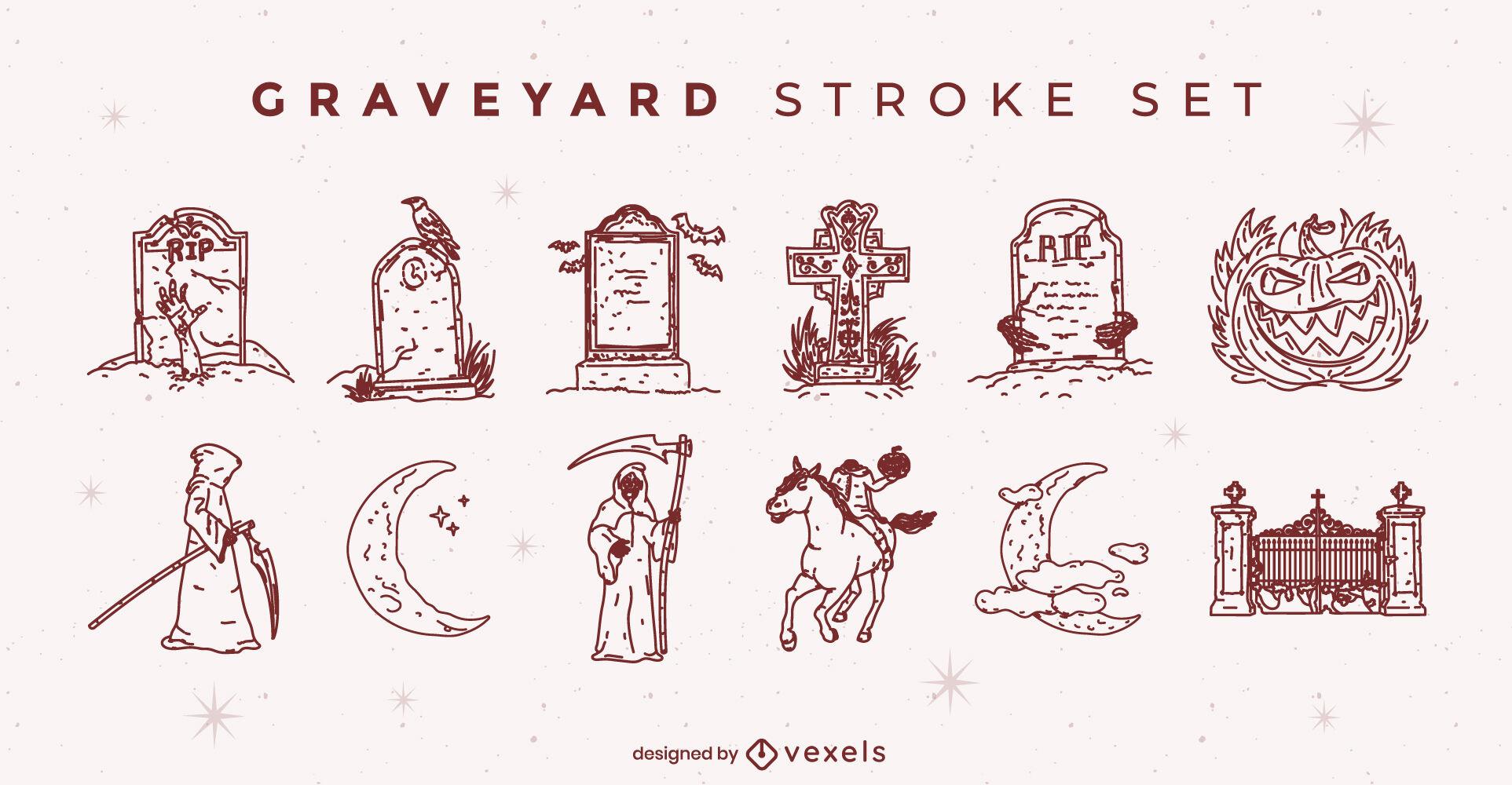 Spooky Halloween graveyard illustrations set stroke