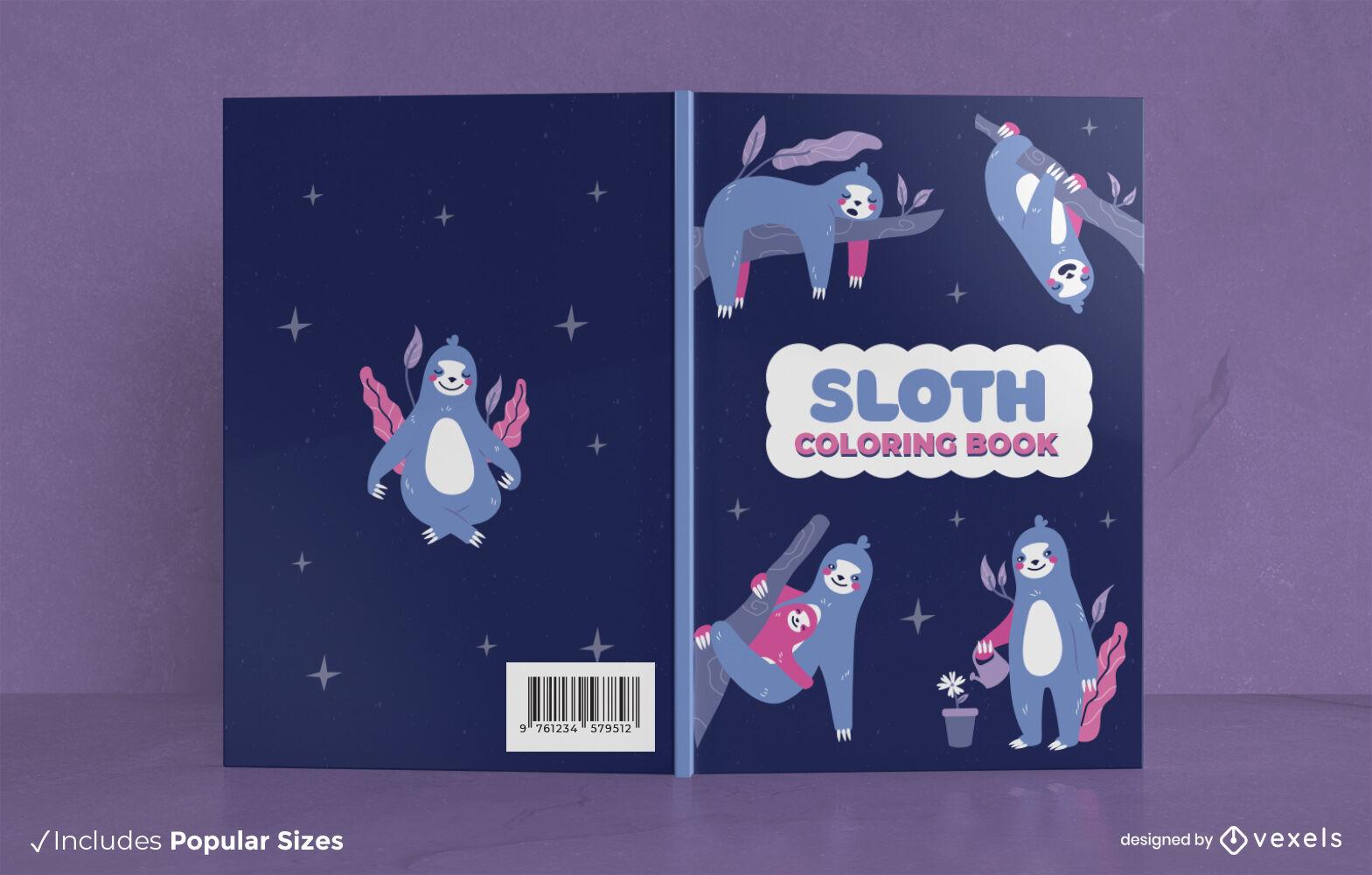 Diseño de portada de libro de animales salvajes perezosos