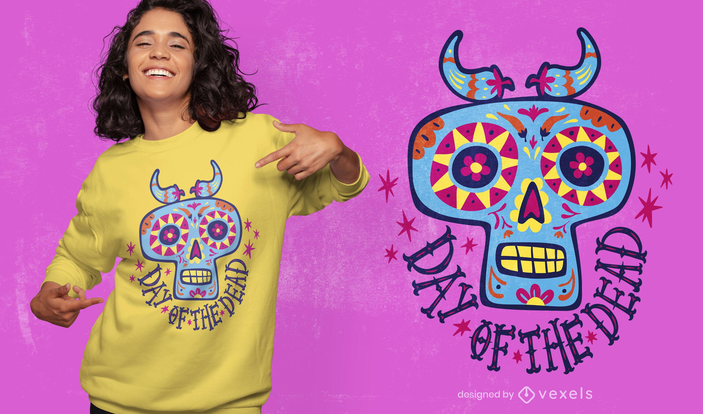 Dia dos mortos desenho animado t-shirt com crânio