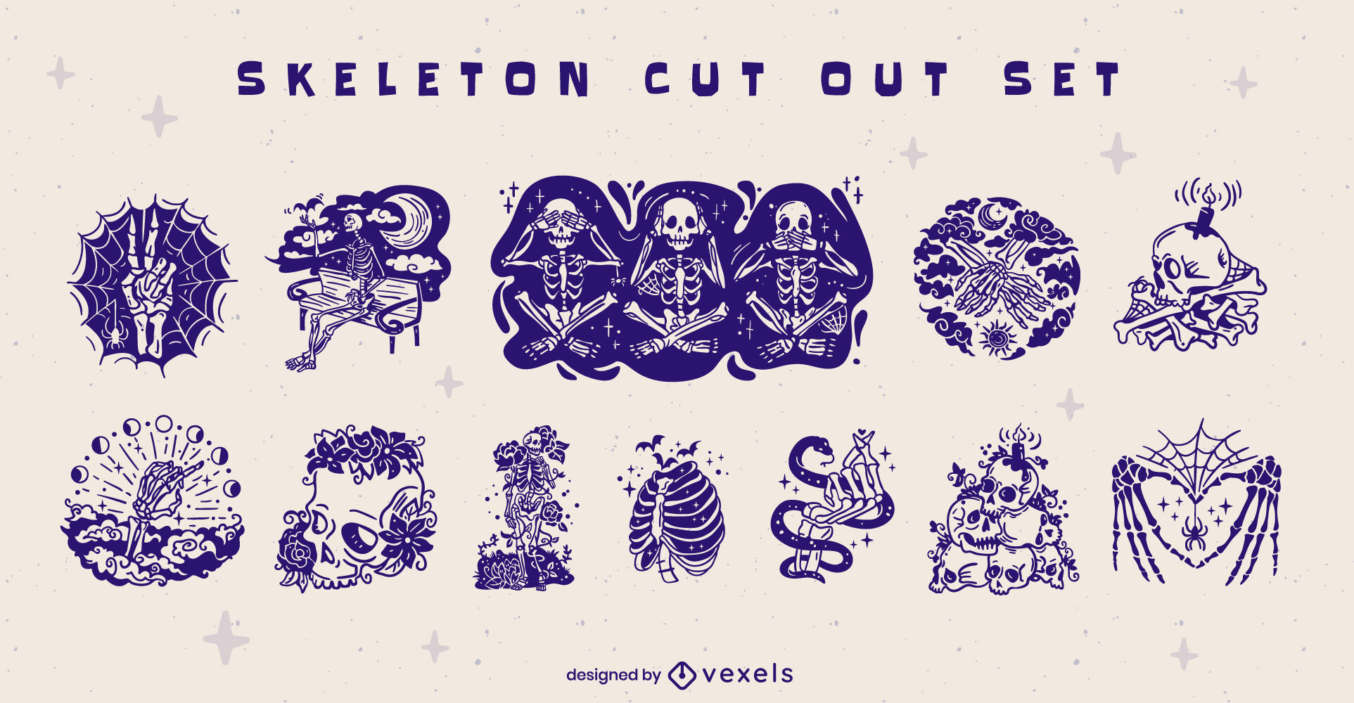 Scary halloween skeletons cut out set