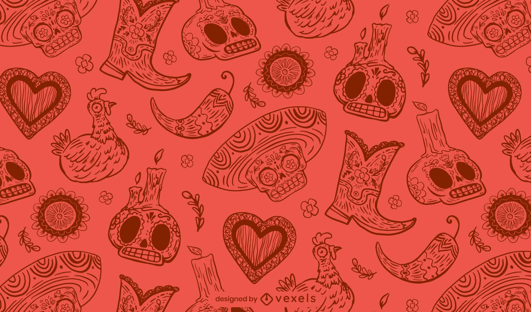 Día de los muertos calavera diseño de patrón rojo