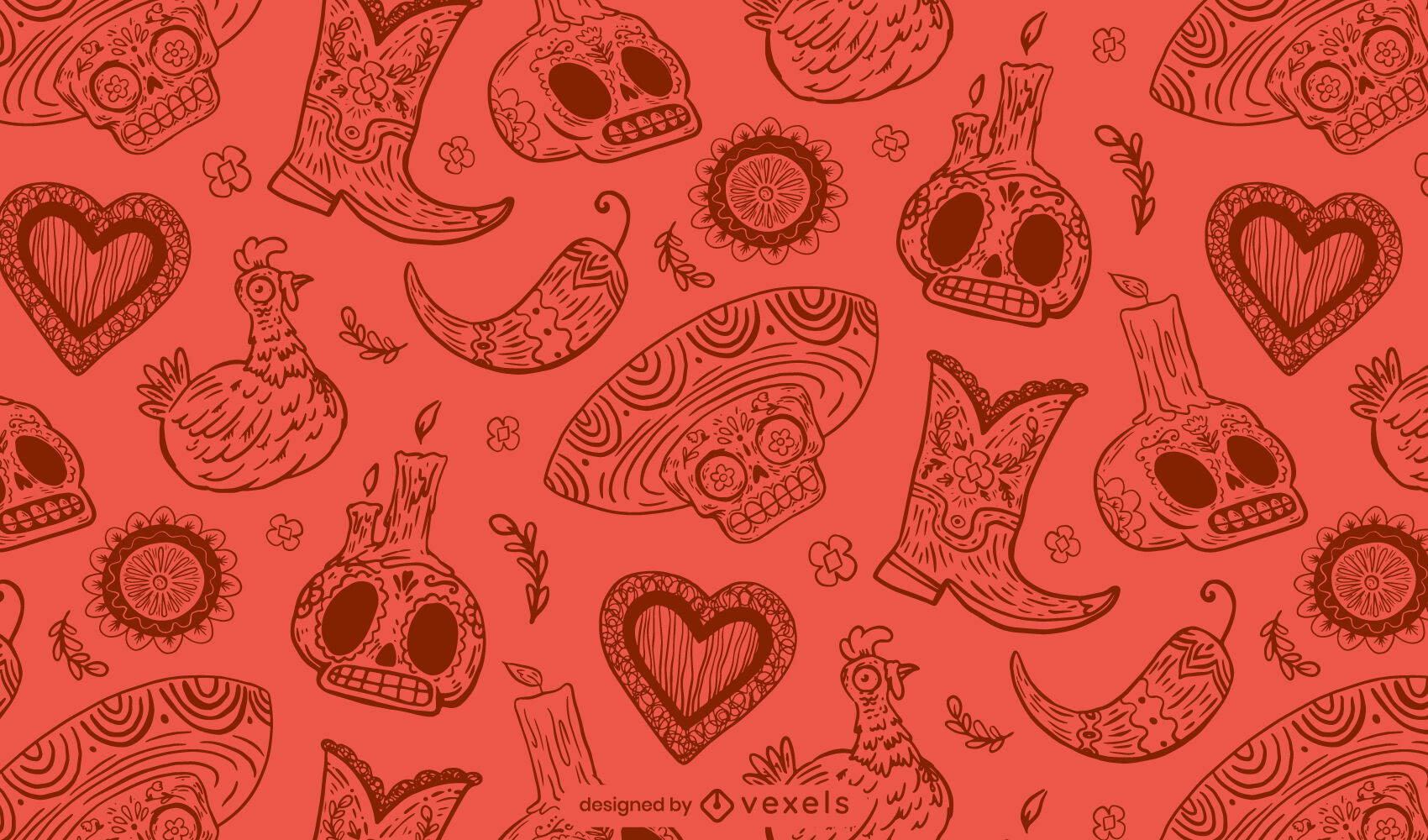 Day of the dead skull red pattern design