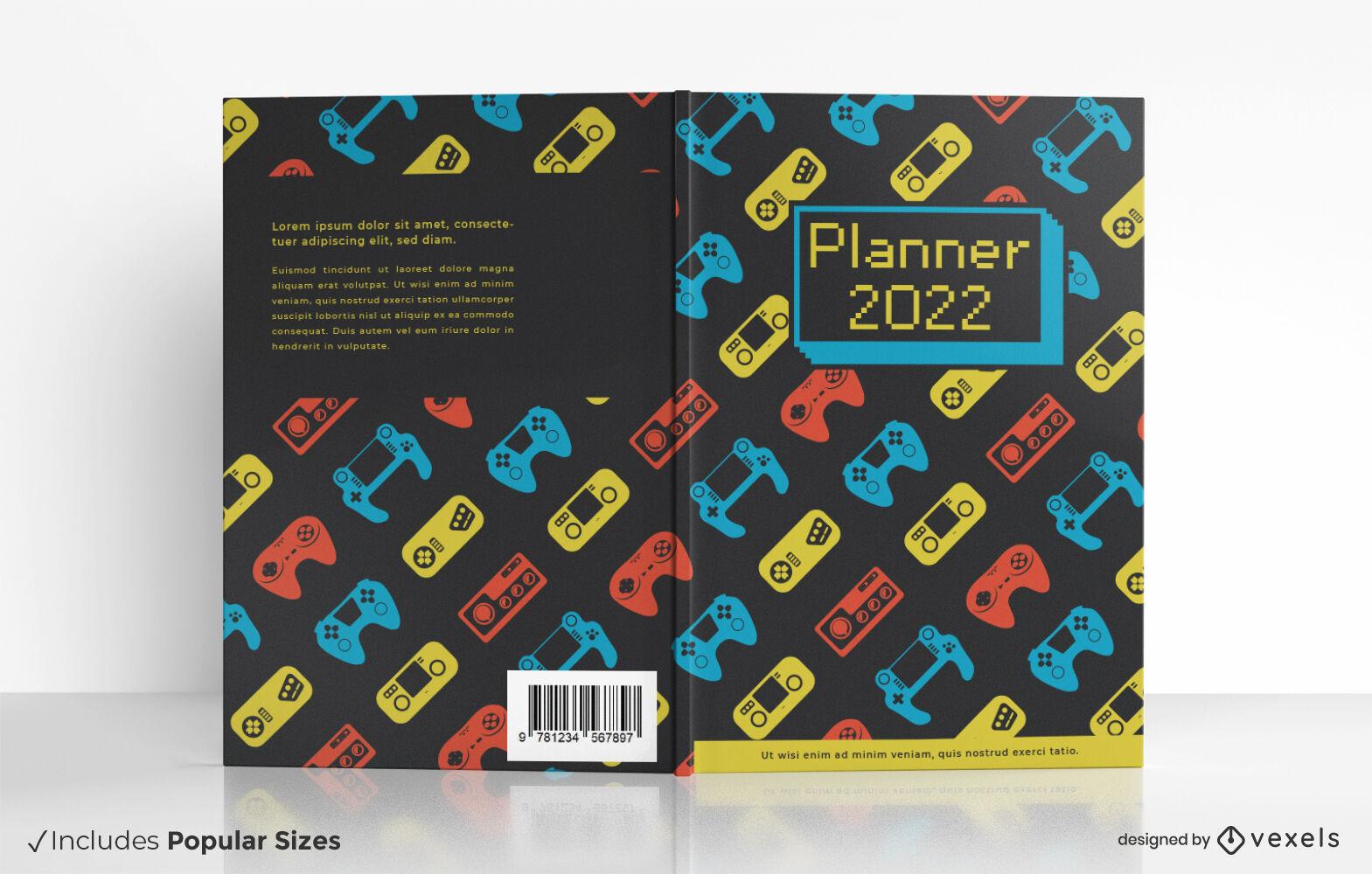 Design de capa de livro de videogames joystick