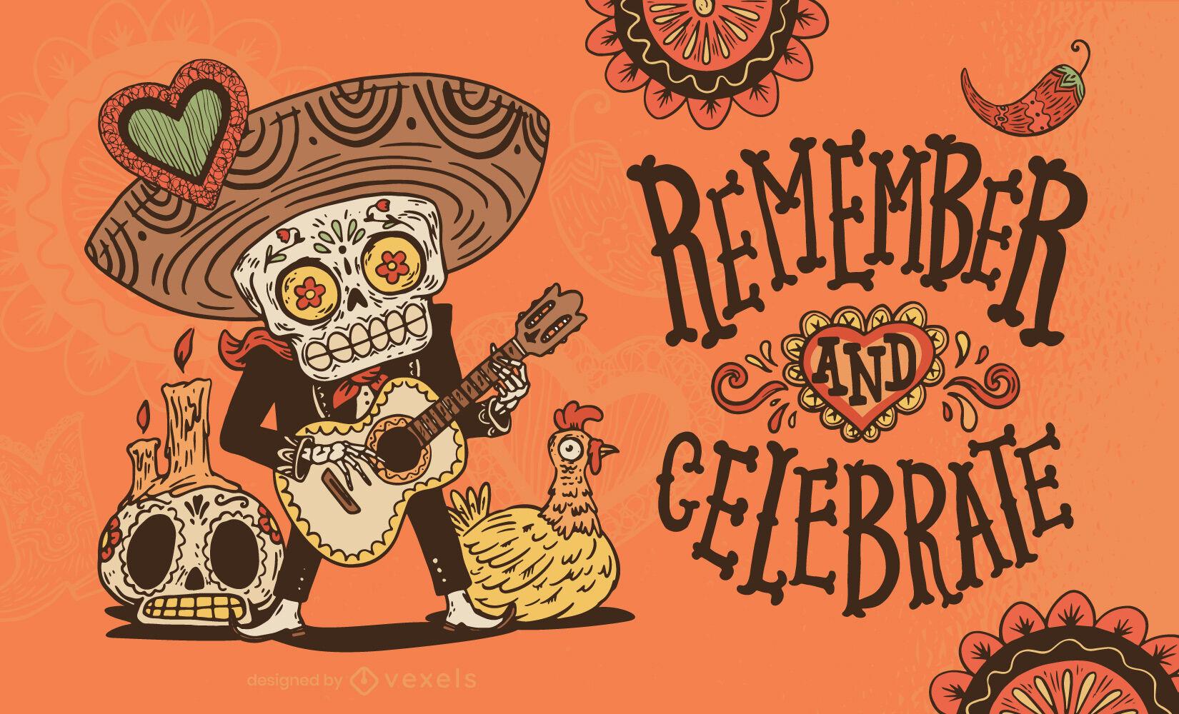 Ilustração do dia dos mortos do músico esqueleto