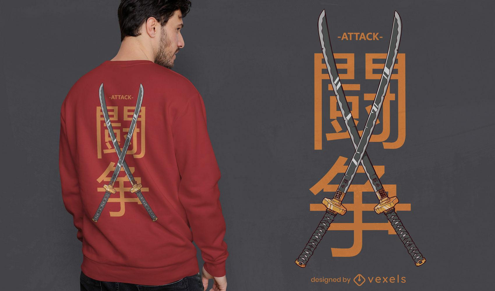 Dise?o de camiseta de espadas japonesas dobles.