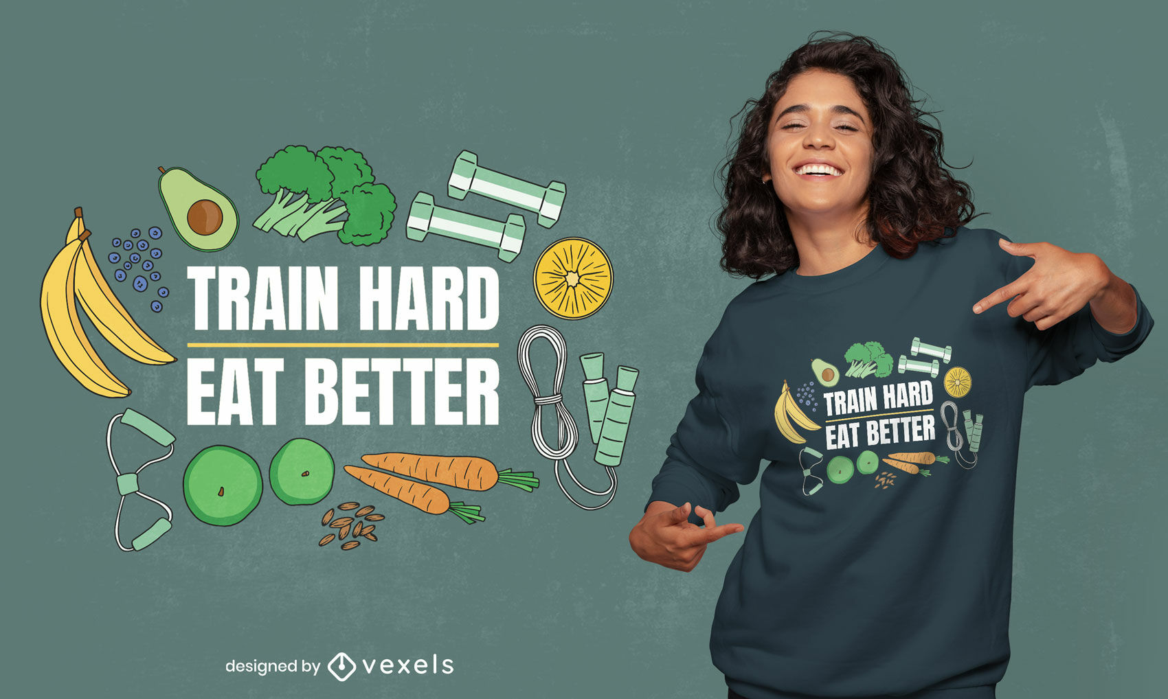 Healthy food and fitness t-shirt design