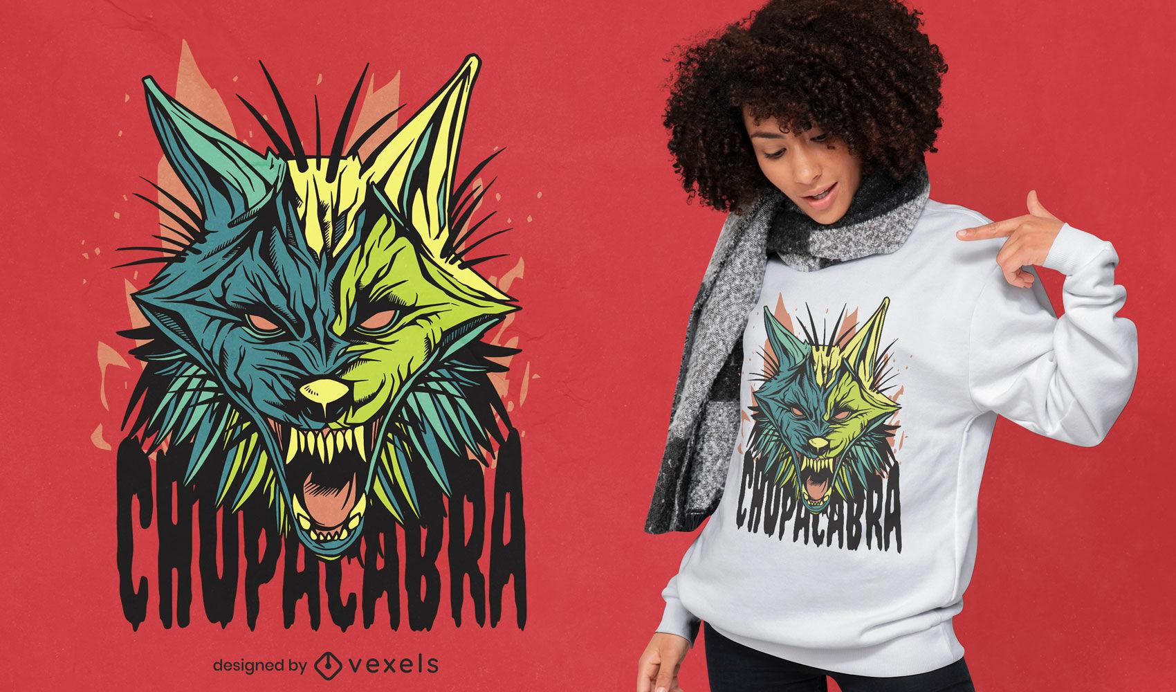 Angry chupacabra monster t-shirt design