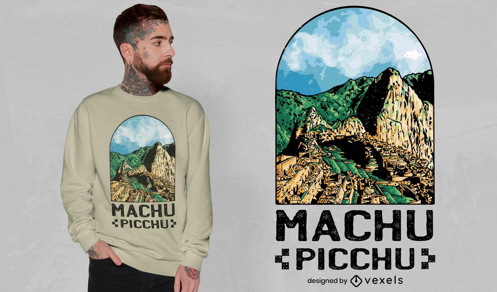 Diseño de camiseta de paisaje de ventana de machu picchu.