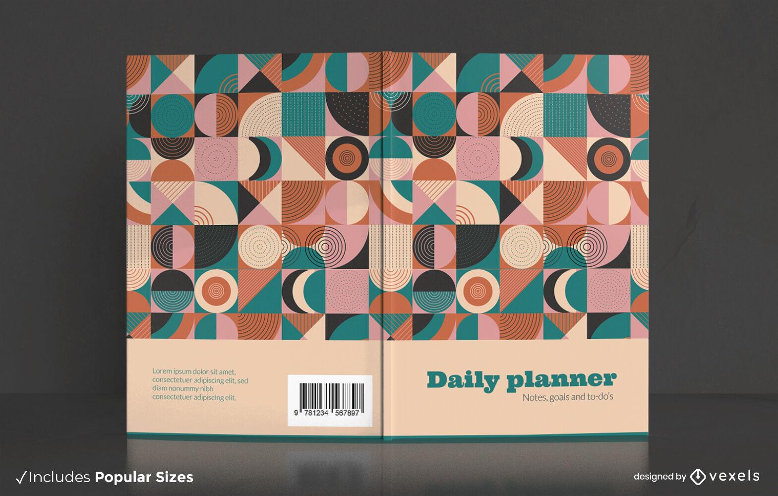 Design de capa de livro retrô de formas geométricas